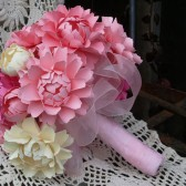 The Romantic light pink and ivory bridal bouquet - Peony handmade paper flowers - designed by Dragonfly Expression
