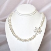 asymmetrical daisy and pearl necklace