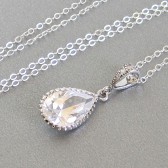 Cubic Zirconia drop pendant necklace
