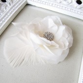 Handmade millinery flower in off white