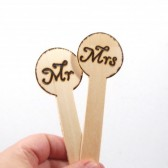 RUSTIC Mr and Mrs wooden sticks