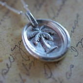 Some Beach - Palm Tree Fine Silver Necklace