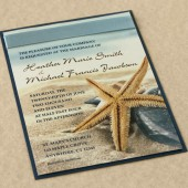 Starfish On Beach Wedding Invitation