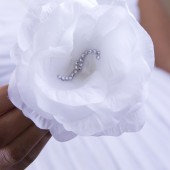 White Silk Crystal Rose Hair Clip