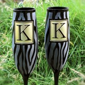 Zebra Wedding Champagne Flutes