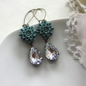 A Blue Dahlia Mum Flower with Vintage Teardrop Pear Glass Jewels Earrings. Wedding. Bridal Earrings. Bridesmaid Gifts.