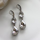 A Vintage, Double Crystal Clear Glass Pear Jewels Earrings. Lovely Gift. Vintage Wedding. Bridesmaid Earrings. Bridal Earrings.