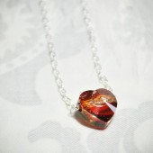 Red Heart Necklace, Crystal Necklace