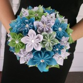 Aqua, Green, Sheet Music Paper Flower Bouquet