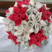 Book Text and Red Flower Bridal Bouquet