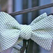 Green Seersucker Bow Tie