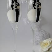 Hand painted Wedding Toasting Flutes Set of 2 Personalized Champagne glasses White classic