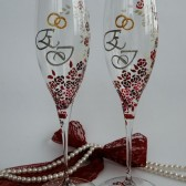 Hand painted Wedding Toasting Flutes Set of 2 Personalized Champagne glasses Silver initials Red and white liitle roses