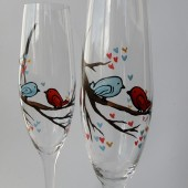 Hand painted Wedding Toasting Flutes Set of 2 Personalized Champagne glasses Love Birds on the branch