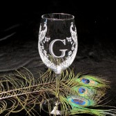 Monogrammed Peacock Wine Glass