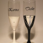 Hand painted Wedding Toasting Flutes Set of 2 Personalized Champagne glasses Bride and grom with crystals