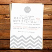 Chevron ZigZag Wedding Invitation
