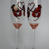 Hand painted Wedding Toasting Flutes Set of 2 Personalized Champagne glasses Wedding theme red Lobster