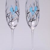 Hand painted Wedding Toasting Flutes Set of 2 Personalized Champagne glasses Black trees and blue birds