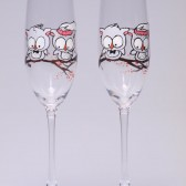 Hand painted Wedding Toasting Flutes Set of 2 Personalized Champagne glasses Wedding theme Owl on branch