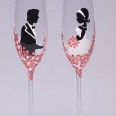 Hand painted Wedding Toasting Flutes Set of 2 Personalized Champagne glasses Groom and Bride with Fuchsia pink flowers