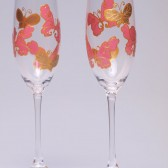 Hand painted Wedding Toasting Flutes Set of 2 Personalized Champagne glasses Gold and Pink Butterflies