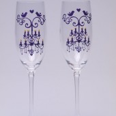 Hand painted Wedding Toasting Flutes Set of 2 Personalized Champagne glasses Deep purple chandelier with crystal and birds