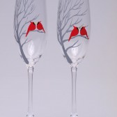Hand painted Wedding Toasting Flutes Set of 2 Personalized Champagne glasses Red cardinals on branch