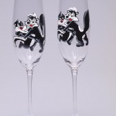 Hand painted Wedding Toasting Flutes Set of 2 Personalized Champagne glasses Wedding theme Pepe le pew black and white