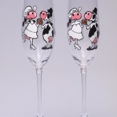 Hand painted Wedding Toasting Flutes Set of 2 Personalized Champagne glasses Wedding theme Cows Black and white