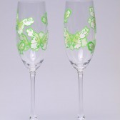 Hand painted Wedding Toasting Flutes Set of 2 Personalized Champagne glasses White and green Butterflies