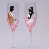 Hand painted Wedding Toasting Flutes Set of 2 Personalized Champagne glasses Groom and Bride Caffe Latte and pink roses