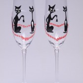 Hand painted Wedding Toasting Flutes Set of 2 Personalized Champagne glasses Black cats