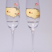 Hand painted Wedding Toasting Flutes Set of 2 Personalized Champagne glasses Love from different places