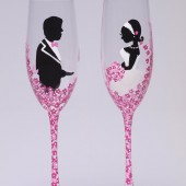 Hand painted Wedding Toasting Flutes Set of 2 Personalized Champagne glasses Groom and Bride with Purple flowers