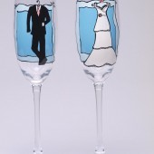 Hand painted Wedding Toasting Flutes Set of 2 Personalized Champagne glasses Groom's suit and Bride's dress