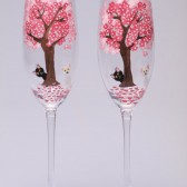 Hand painted Wedding Toasting Flutes Set of 2 Personalized Champagne glasses Blooming trees and cats