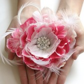 Pink Feather Wedding Headpiece
