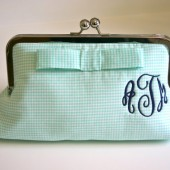 Mint Monogrammed Clutch