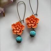 A Bright Orange Sakura Flower with Howlite Gemstone Beads Earrings. Cheerful. Summer.