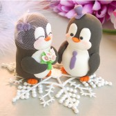 Penguin cake topper with snowflake base