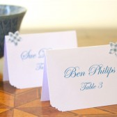Wedding Place cards - Blue white Flower