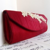 Dark red silk clutch with lace