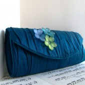 Teal gathered silk clutch