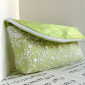 Key lime silk lace clutch