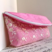 Pink lace silk clutch