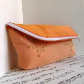 Orange tangerine silk clutch