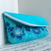 Torquoise lace zipper clutch