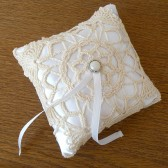 Small satin ring pillow with tea dyed doily