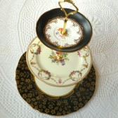 Black & Gold Floral Cupcake Stand